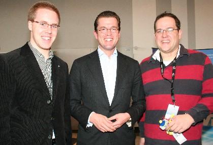 JU-Kreisvorsitzender Christoph Wäsker, der neu ernannte Bundeswirtschaftsminister Dr. Karl-Theodor zu Guttenberg MdB und JU-Bundesvorstandsmitglied Henrik Bröckelmann