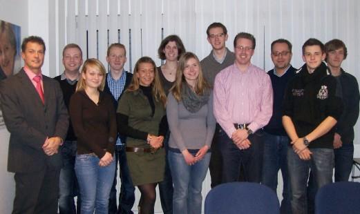 Mitglieder der Kreisverbände Borken und Coesfeld mit dem Referenten Gerrit Tranel (1. v. l.) und den Kreisvorsitzenden Thomas Kerkhoff (3. v. r.) und Christoph Wäsker (4. v. r.)